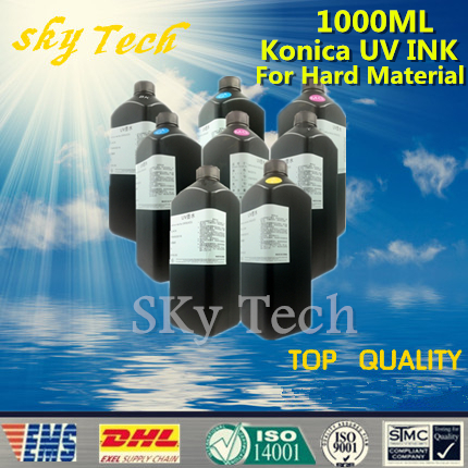 LED UV INK 1000ML*8 ,UV ink For Konica printhead UV printer .for metal PVC KT Board PMMA etc hard materials brand new inkjet printer spare parts konica 512 head board carriage board for sale