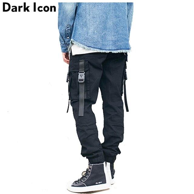 fc3c648223 Oscuro icono de bolsillos laterales con hebilla de los hombres pantalones  de carga 2017 calle elástico
