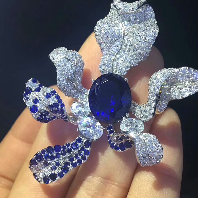 Fashion Brooches_S925 Silver Plated White Gold Hand set Blue Zircon ice Ying Orchid Brooch Pin Noble Elegant Simple Female