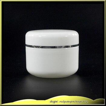 100 pcs 50g Cosmetic Empty Jar Pot Eyeshadow Makeup Face Cream Container Plastic Refillable bottle White Plastic Box Sample Jar