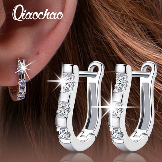 1Pair Silver Platet Nice White Crystal Silver Brincos Ouro Women's Hoop Earrings For Women Earring Jewelry Gift 2016-E257