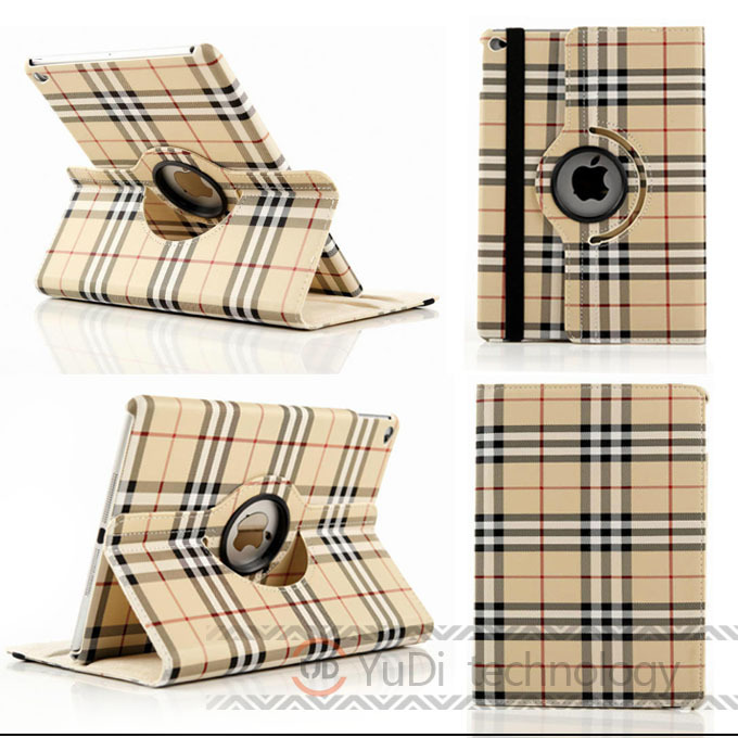 High Quality For iPad 6 Case Plaid Design Business Folio PU Leather Protective Skin For Apple iPad Air 2 Case With Card Holder