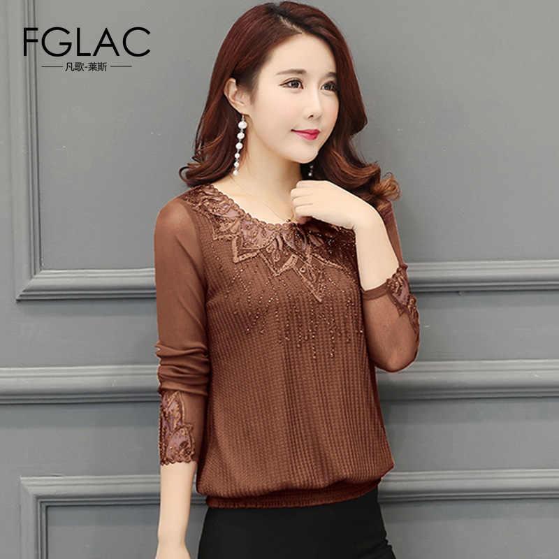FGLAC, женская блузка, рубашка, Новое поступление 2019, весна, длинный рукав, вязаная рубашка, элегантная, свободная, для женщин, топы размера плюс, женская одежда