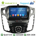 Quad Core 1024*600 Android 5.1.1 Multimídia Carro DVD Player de Rádio Stereo PC DAB + 3G/4G WIFI FM GPS Mapa Para Ford Focus 3 2011-2014