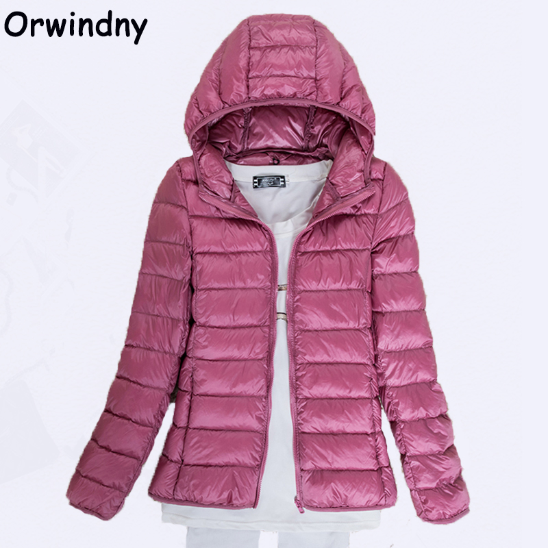 Orwindny Women Winter   Down     Coats   Female Ultra Light White Duck   Down   Jackets Spring Autumn Thin Jacket with Hood Plus Size 6XL