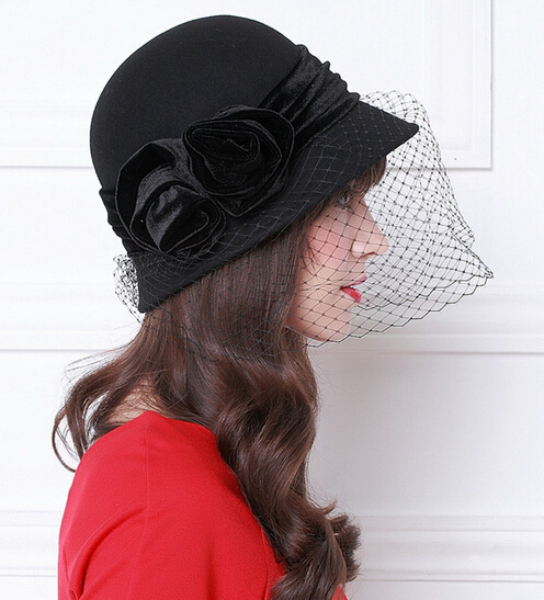 Womens Dress Fascinator Wool Felt Hat Party Wedding Bow Veil 3color hat wholesale. B-0854