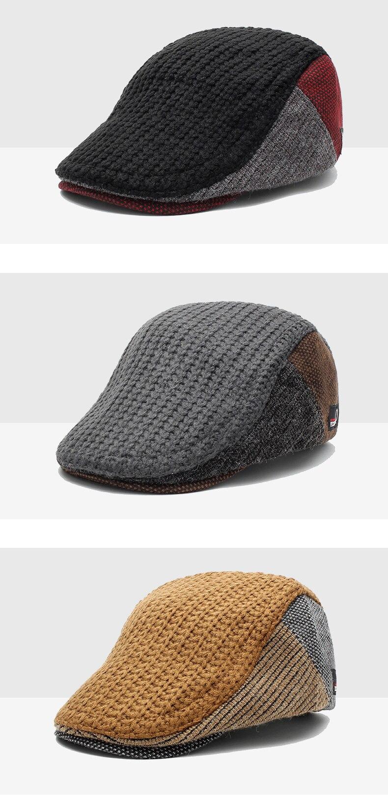 lã de malha chapéu masculino retro gatsby