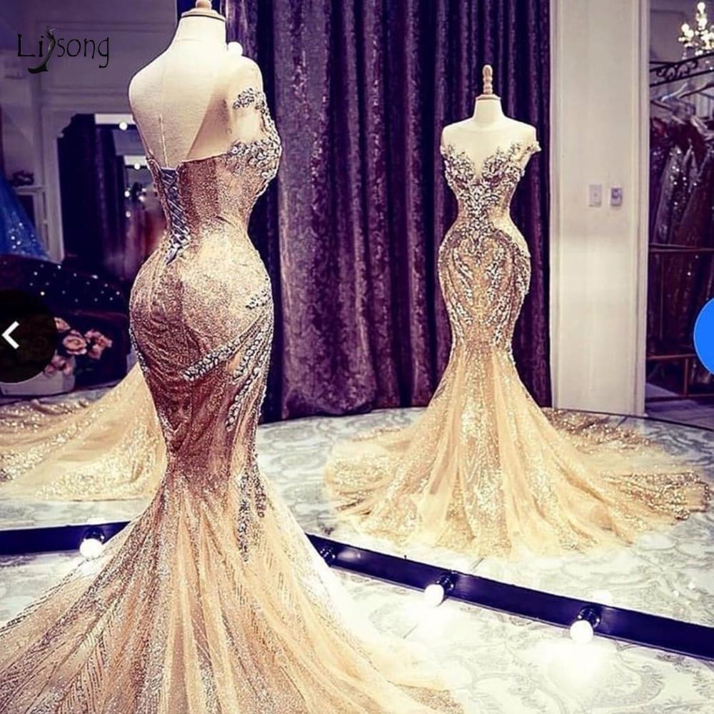 Brilho de Ouro de luxo Cristal Sereia Vestidos de Noite Dubai Abiye Rendas Frisado Longo Prom Vestidos Robe De Soiree Brilhante Vestido Formal