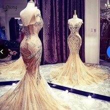 Luxus Gold Sparkle Kristall Meerjungfrau Abendkleider Dubai Abiye Lange Perlen Spitze Prom Kleider Robe De Soiree Glänzenden Formale Kleid