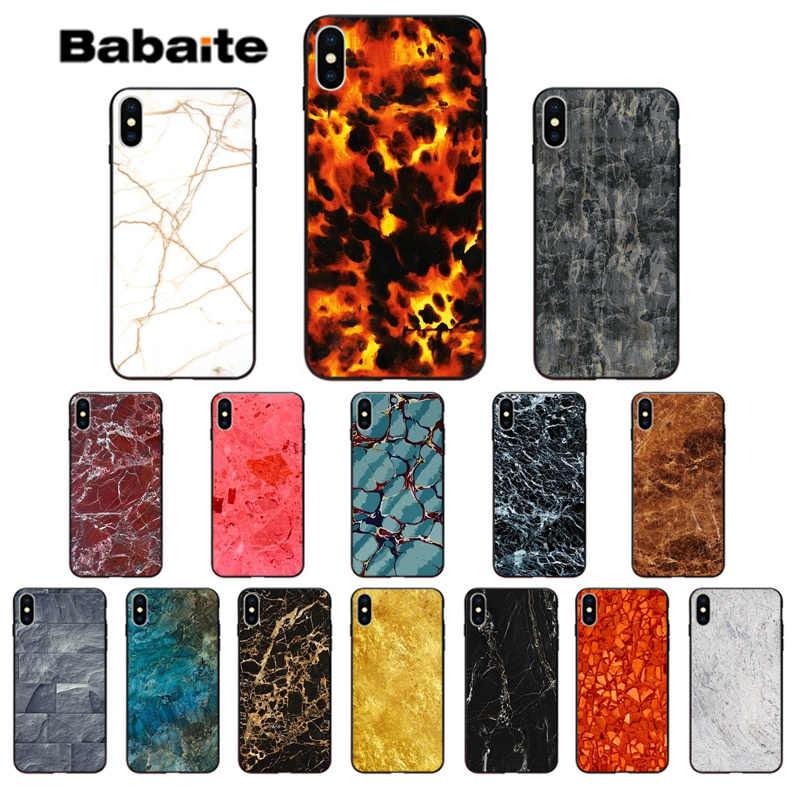 Babaite Hổ Phách đá cẩm thạch TPU đen Điện Thoại Ốp Lưng dùng cho Apple iPhone X XS MAX 5 5S SE XR 7 8 6 6S Plus