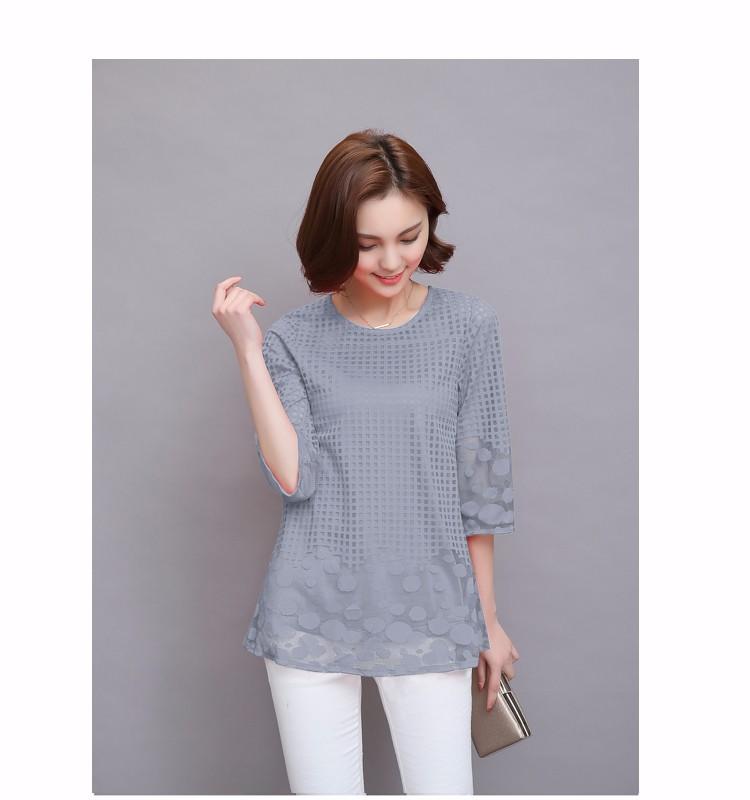 HTB1OPLsHVXXXXa3XFXXq6xXFXXXc - 3/4 Sleeve Lace Blouse Hollow Out Women Summer Blouses Shirts