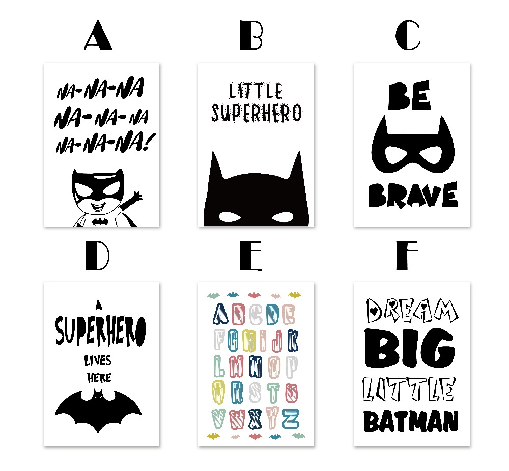 superhero batman hippie quotes canvas painting kids room decoration poster wall decor wall picture for living room home decor in painting calligraphy from - Picture Painting For Kids
