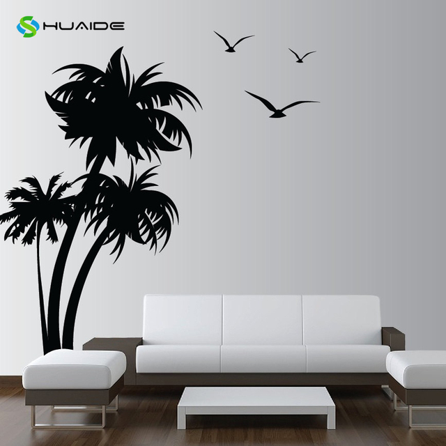 84inch huge palm coconut tree wall decal with seagull bird living