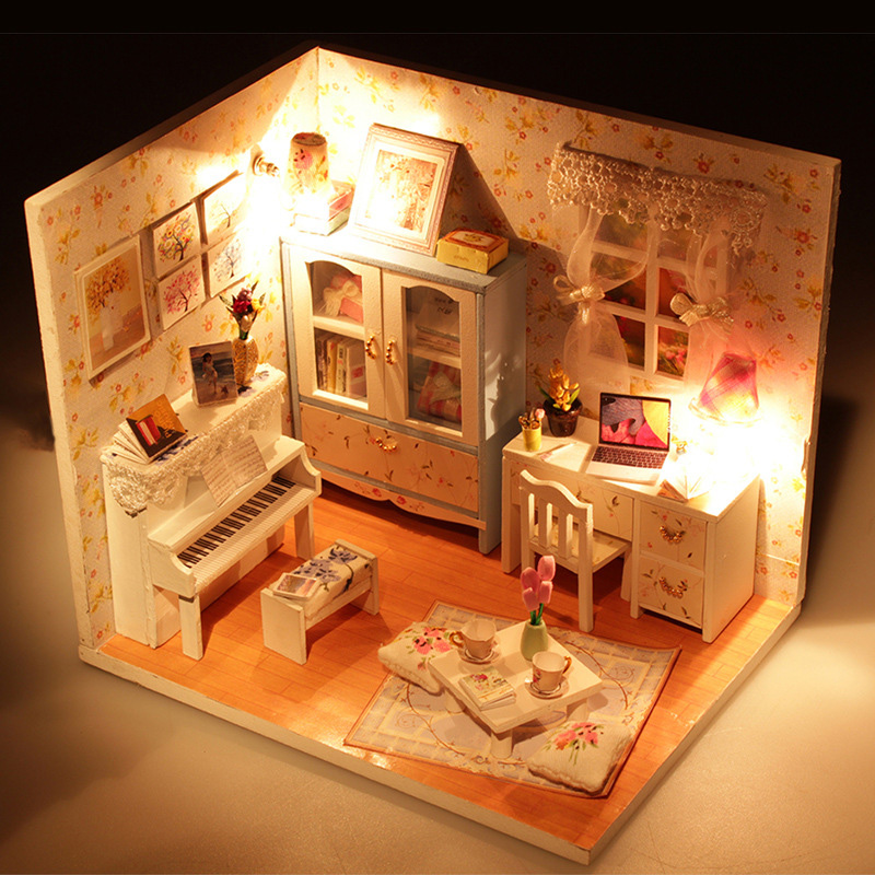 3D Kids Wooden Assemble DIY Doll House Toy Miniatura Doll Houses Furniture Kits Girls Living Room Decor Birthday Gift