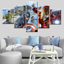 5 panel poster picture superhero avenger league captain hulk painted on canvas for childrens room bed head wall art decoration