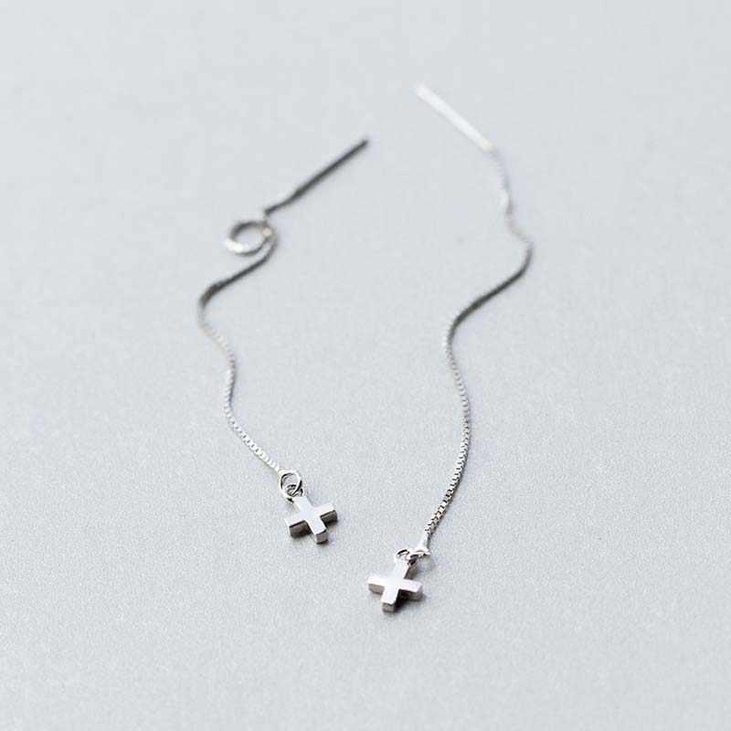 925 Sterling Silber Lange Kette Tropfen Ohrring Ohr Linie Kreuz Baumeln Ohrringe Für Frauen Mode Schmuck Mädchen Partei Geschenke Großhandel