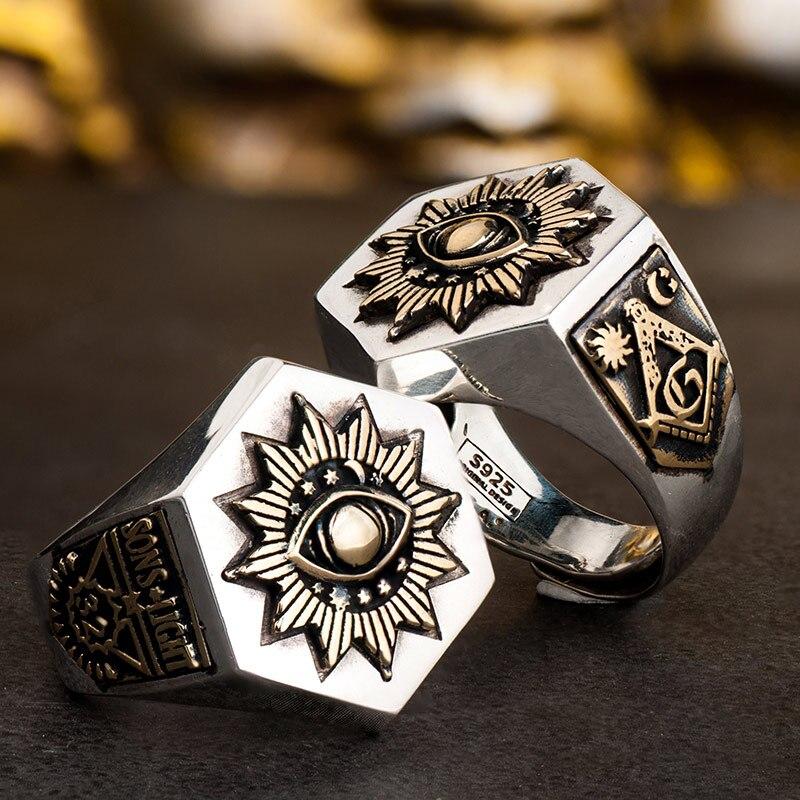 925 Silver Devil Eyes hexagon Masonic Ring For Men sterling silver Freemason Totem Jewelry цены