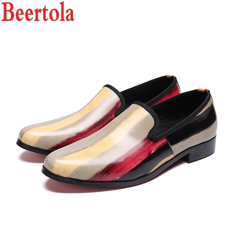 Véritable En Hombre Chaussure Picture Bout Beertola Slip As D'affaires on Homme Mocassins Zapatillas Appartements Cuir Picture Chaussures Rond Hommes as D'impression oWxBCEQrde