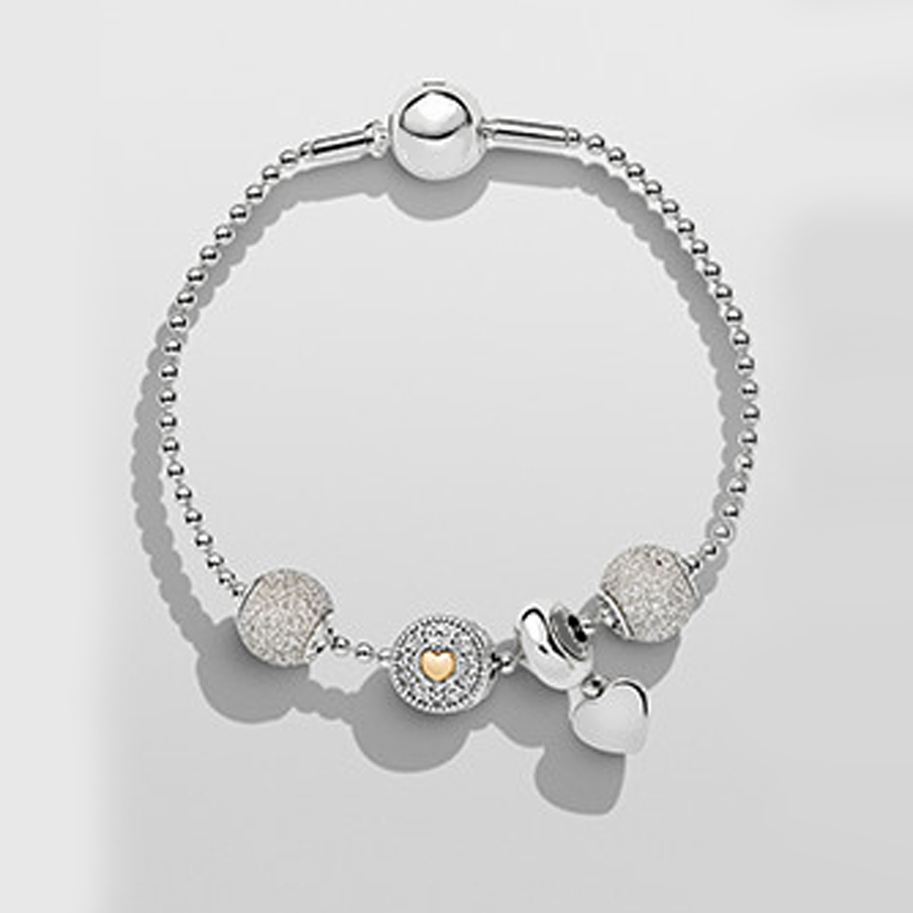 ROBOL925 Sterling Silver Crystal Charm Bracelet 925 for Women Silver Snake Chain Bracelet Authentic Jewelry Christmas gift authentic new brand women infinity bracelet 925 sterling silver cz crystal charm bracelet for women wedding jewelry gift ys1001