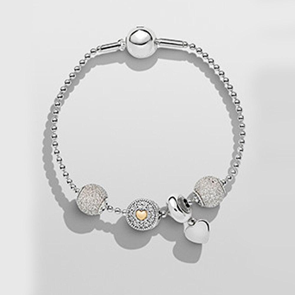 цена на ROBOL925 Sterling Silver Crystal Charm Bracelet 925 for Women Silver Snake Chain Bracelet Authentic Jewelry Christmas gift