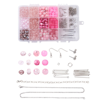 1 Set Jewelry DIY Making with Glass Beads 316 Stainless Steel Earring Hooks and Jump Rings Iron Cable Chain Bracelet Making F80