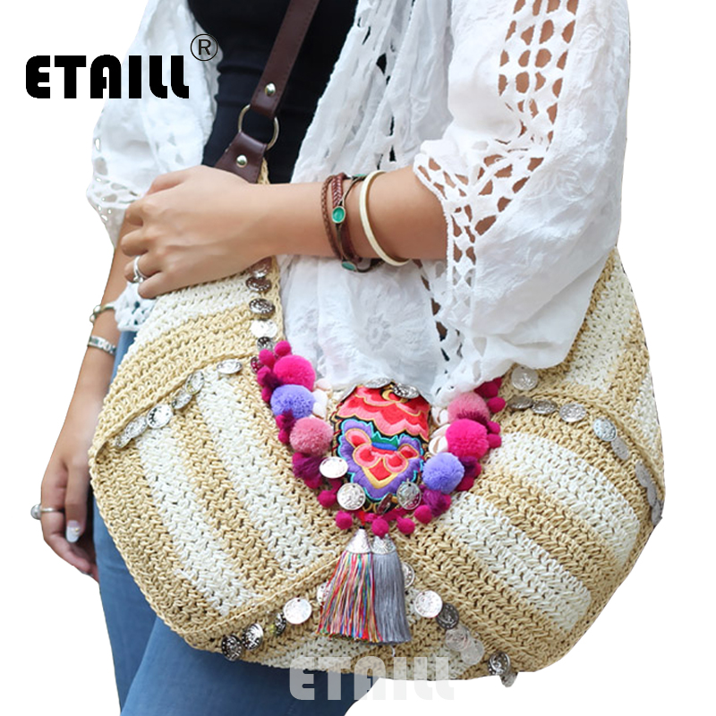 Ethnic Bohemian Summer Beach Straw Bags Hippie Fabric Hobo Boho Indian Woven Embroidered Bags Women Luxury