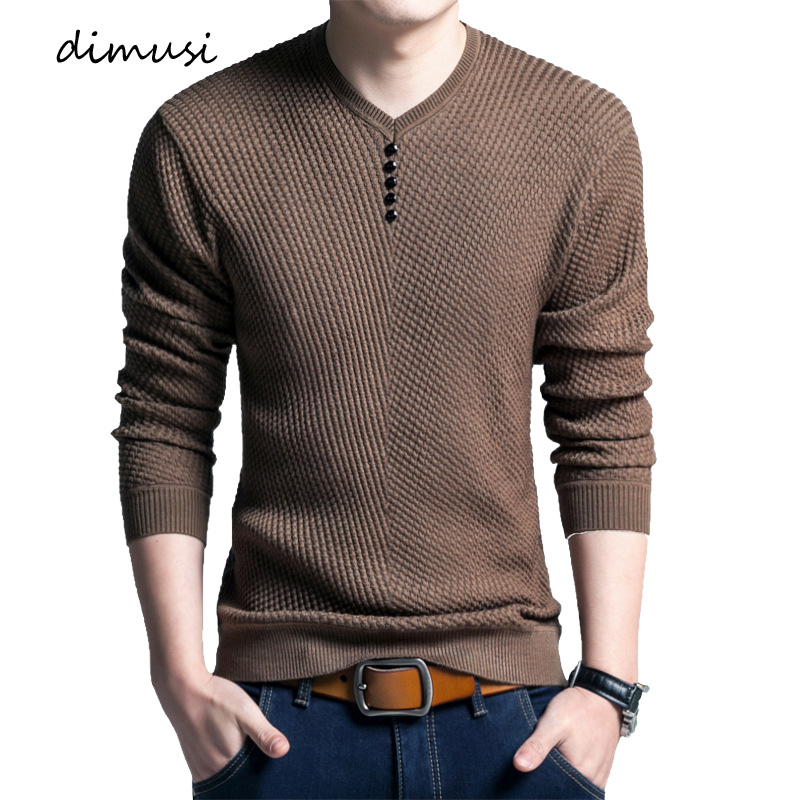 DIMUSI Autumn Mens Pullover Sweater Casual Men Social V-Neck Solid Pullover Shirt Men's Slim Knitted Pull Sweaters Clothing