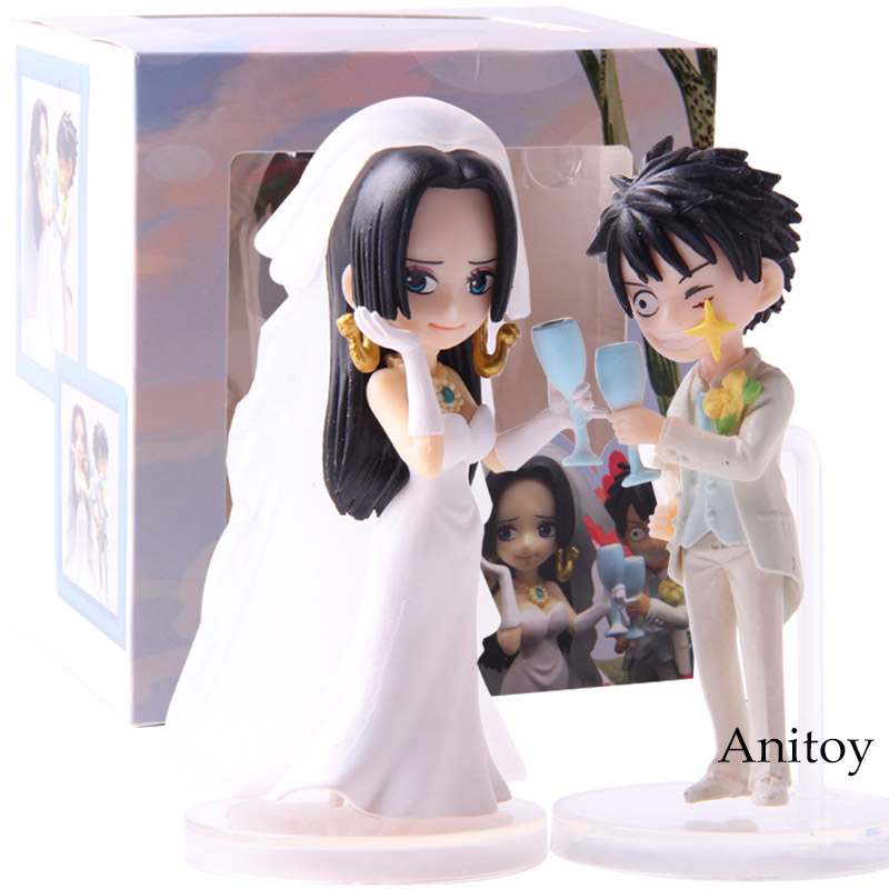 Action & Toy Figures Anime One Piece Monkey D Luffy Boa Hancock Wedding Party Pvc Action Figures Collectible Model Toys 2pcs/set