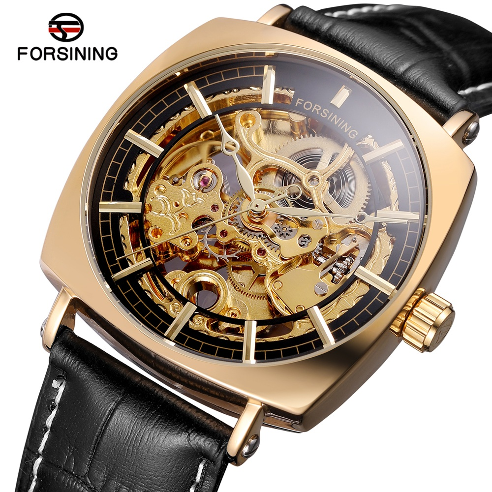 FORSINING Brand Fashion Square Automatic Watches Men Genuine Leather Strap Hollow Out Mechanical Wristwatch Waterproof Gift Box forsining men s watch automatic dress watches plastic band alloy case mechanical wristwatch color deep blue gift box