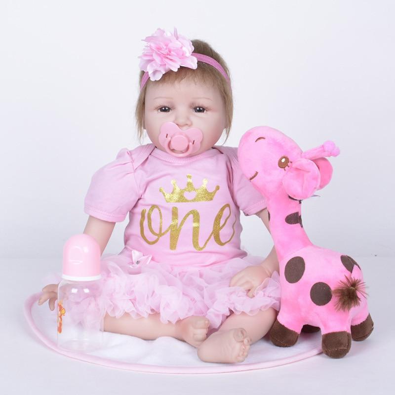 Silicone Reborn Baby Dolls Girls Reborn Babies Soft Touch Baby Toys Silicone Reborn Baby Dolls 55cm SB5519 Doll Reborn Girl Gift warkings reborn