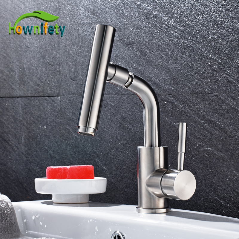 цена на Stainless Steel Nickel Brushed Bathroom Sink Faucet Single Handle Mixer Tap Swivel Spout Faucet