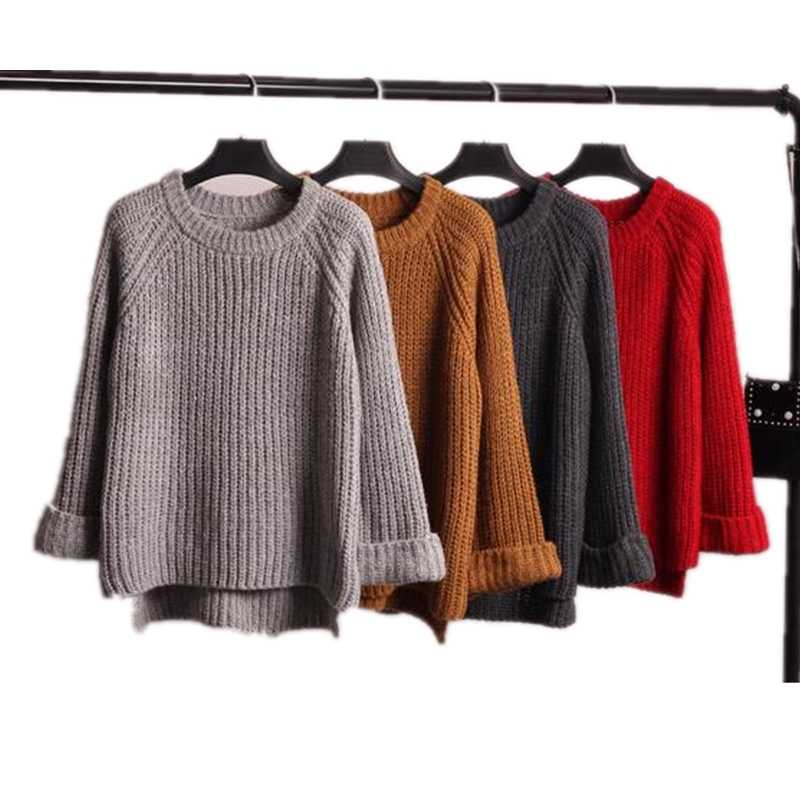 Autumn and winter women sweater new loose thick needle women 's bottoming Tops knitted sweater women' s Pullovers Z2574