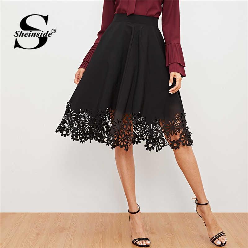 68e48b943f Sheinside Black Laser Cut High Waist Women Skirt Office Ladies Workwear  Elegant Fit and Flare Skirts