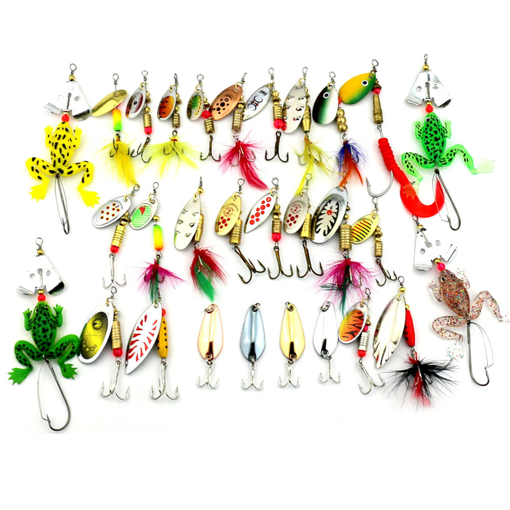 Hengjia 29pcs Spinners Fishing Lure Mixed color/Size/Weight 3~10G Metal Spoon Lures hard bait fishing tackle Atificial bait hengjia 10pcs mixed size metal sequin spinnerbait fishing lure spoon bait fishing tackle 20 kinds pesca peche japan lure fishing