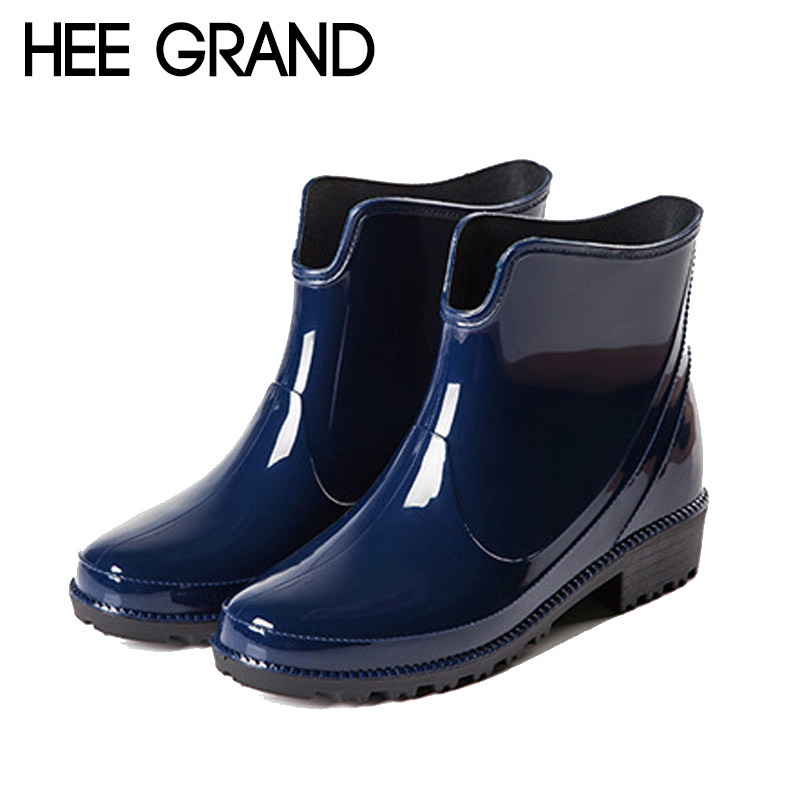 HEE GRAND Rain Boots Platform Women Ankle Boots Casual Rubber Shoes Woman Leopard Slip On Flats Women Shoes Size 36-40 XWX4395 hee grand bowtie brogue shoes woman 2017 new oxfords velvet slip on high heels casual platform women shoes size 35 40 xwd5186