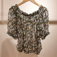 2019 Summer women's floral print chiffon blouses Vintage off shoulder short sleeves Shirt Tops A309