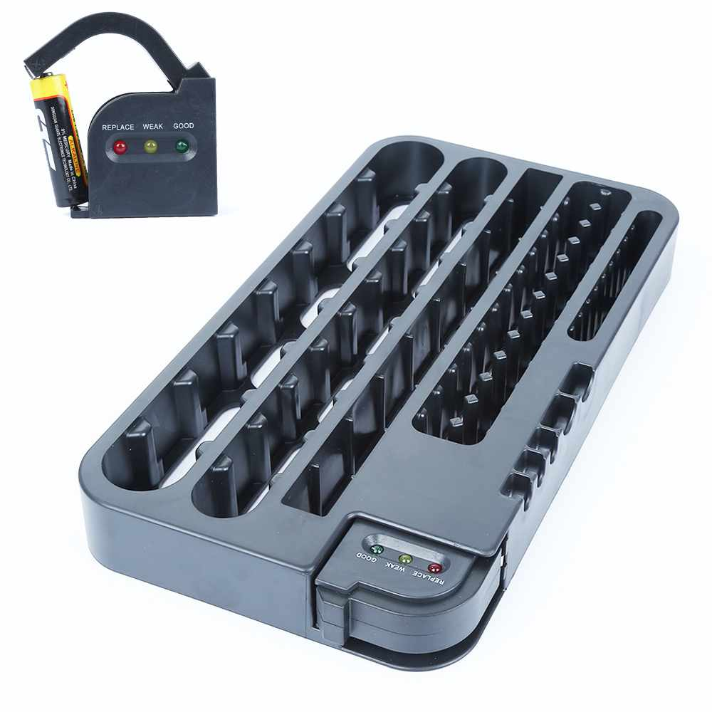 72 Battery Caddy Storage Plastic Holder Slot Rack Organizer Box Case Removable Tester For AAA AA