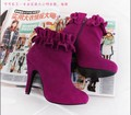 winter/autumn/spring customized  flouncing short ankle-boot  full genuine leather high heel boot for party wedding working