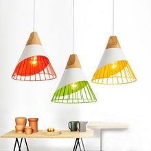 Nordic Modern Pendant Lights Wood+Metal Colorful Hanging Lamp for Kitchen cafe Restaurant Bar Indoor Lighting Deco Light Fixture