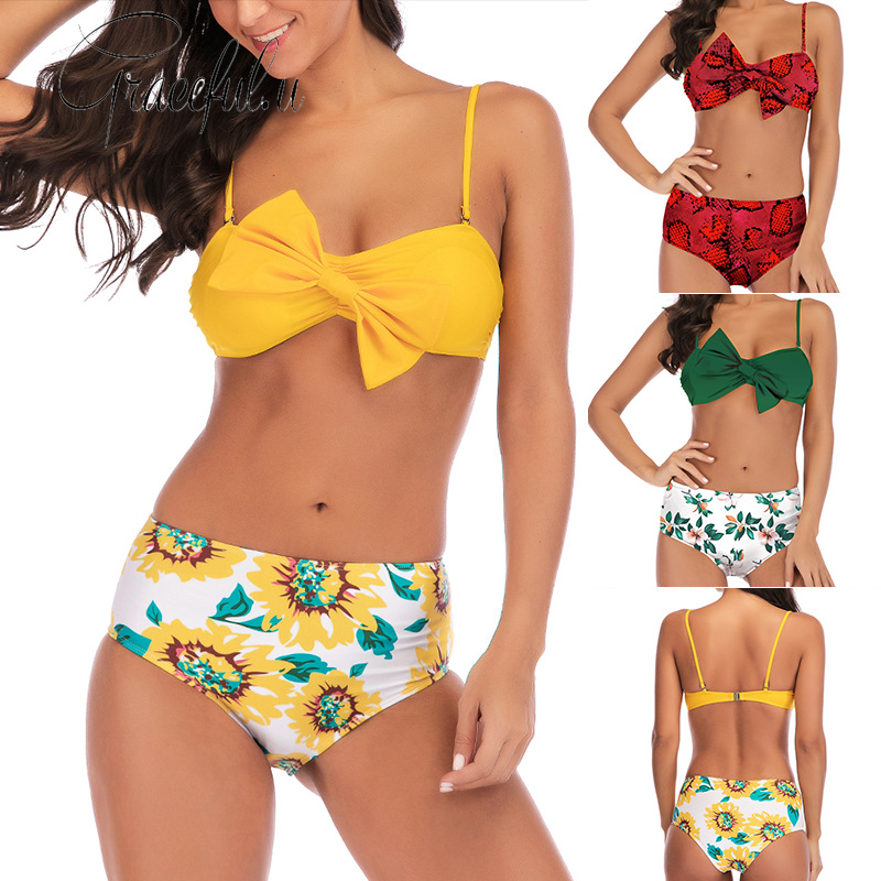 <font><b>2019</b></font> <font><b>Swimwear</b></font> <font><b>Women</b></font> Printed Chest Bow <font><b>Bikini</b></font> <font><b>Sexy</b></font> <font><b>High</b></font> <font><b>Waist</b></font> Two-piece Swimsuit <font><b>Push</b></font> Up Padded Bathing Suit Beachwear Biquini image