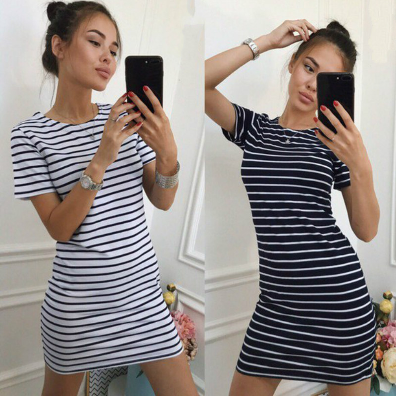 2018 Fit Striped Bodycon Women Drss Shorts Sleeve O-neck Mini Summer Dresses Black White Pink Sexy Dress Mujer Ukraine LX313