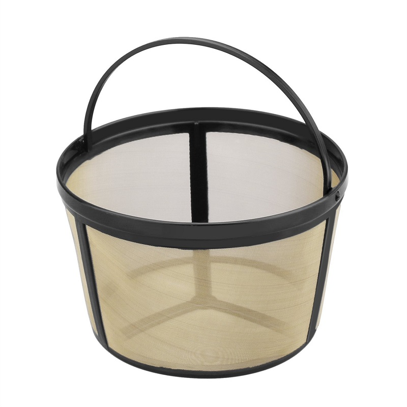 Permanent Reusable Basket Style Gold Tone Coffee Filter With Solid