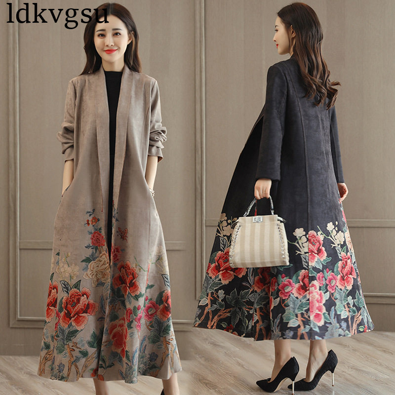 New Fashion Women Coat 2019 Spring Autumn Casual Long Sleeve Suede Long   Trench   Coat Female Slim Floral Print Windbreaker A871