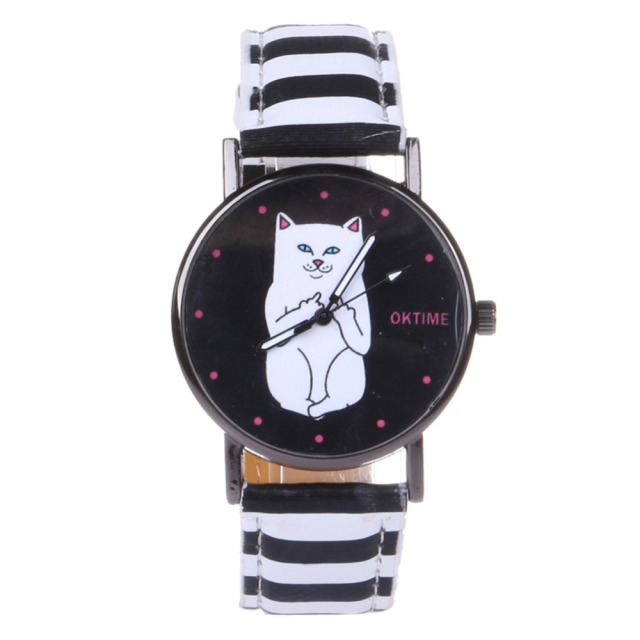 Fashion Cat Watch Leather Strap