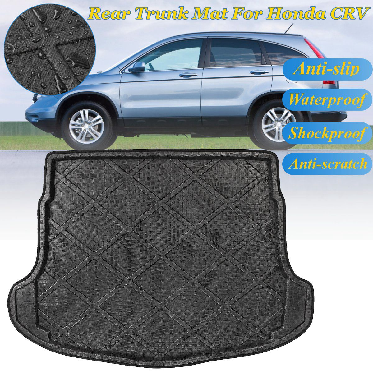PE+EVA Trunk Floor Mat Tray Carpet Mats Mud Kick Rear Cargo Liner Boot For Honda for CR-V CRV 2007 2008 2009 2010 2011 auto floor mats for honda cr v crv 2007 2011 foot carpets step mat high quality brand new embroidery leather mats