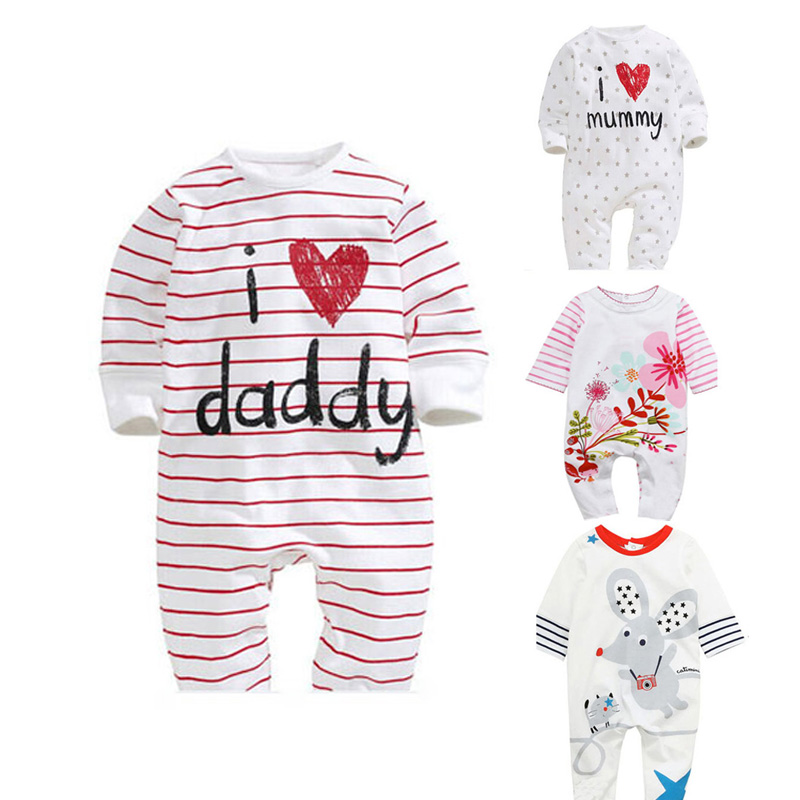 18fd2c267 Baby Rompers 2018 Newborn I Love Mummy   Daddy Baby Costume Girls ...