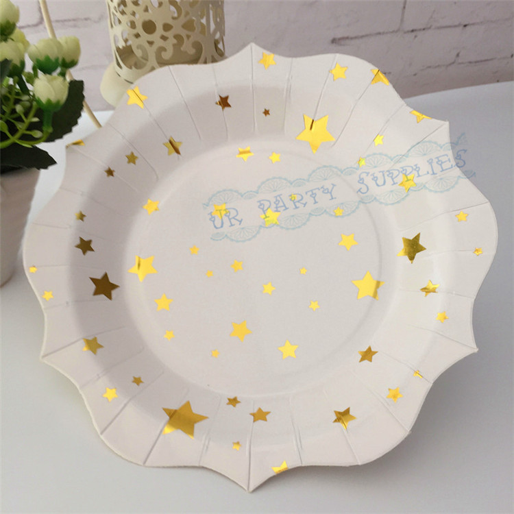 120pcs Gold Foil Scallop Paper Plates Metallic Gold Star Cake Dishes for School Party House Moving Wedding Birthday Decoation-in Disposable Party Tableware ... & 120pcs Gold Foil Scallop Paper Plates Metallic Gold Star Cake Dishes ...