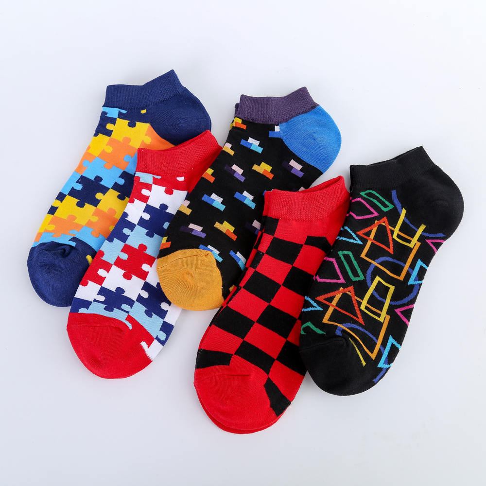 High Quality New 2019 Summer Men's Casual Novelty Ankle Socks Colorful Combed Cotton Puzzle Geometric Pattern Dress Boat Socks