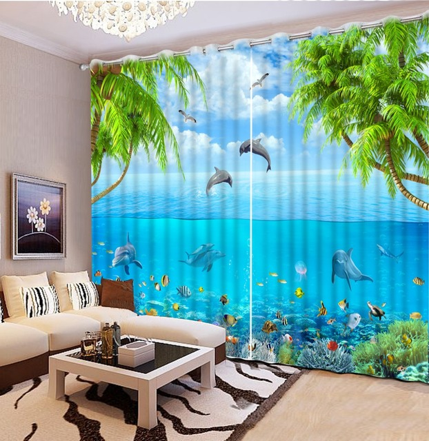 Curtains For Living Room Beach Dolphin Window Curtain Living Room Fashion  Decor Home Decoration For Bedroom