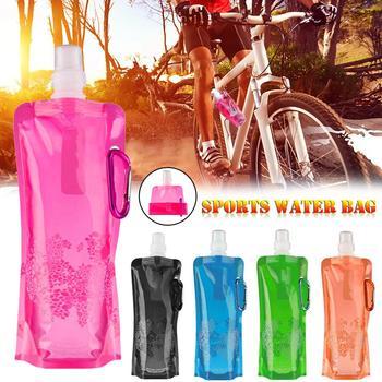 Składane na zewnątrz do picia torba podróżna jazda na rowerze sportowe do chodzenia przenośny torba na biodro wspinaczka butelka wody czajnik podróży akcesoria sportowe tanie i dobre opinie 0 5l silica gel